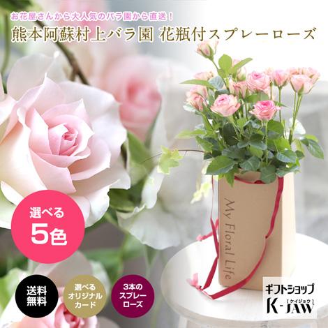 熊本阿蘇村上バラ園 花瓶付スプレーローズイメージ