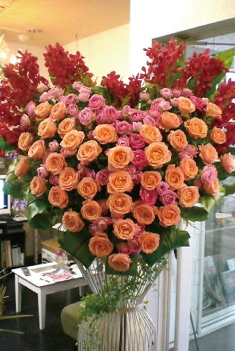 【S-09】ハート型選べるバラスタンド花