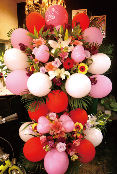 【S-14】2段式バルーンスタンド花